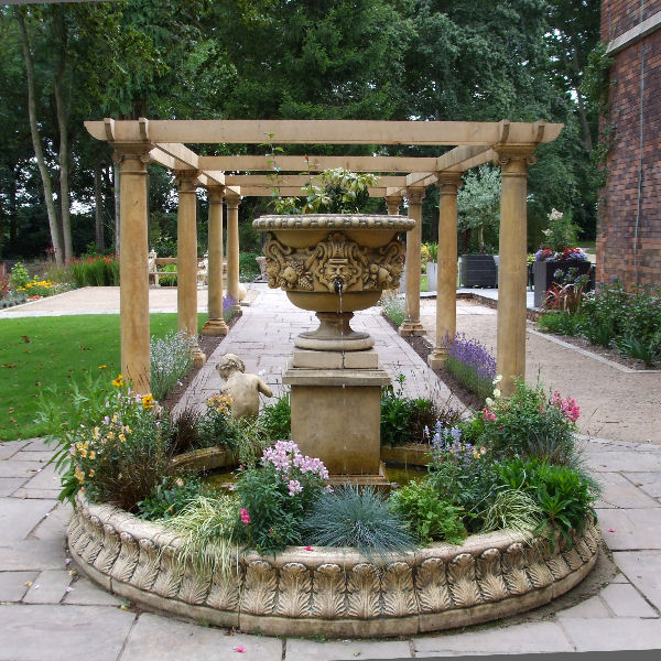 Large garden stone fountains and water features for Garden fountains and water features