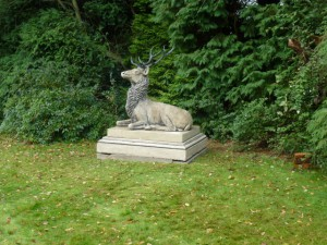 Installation of the reposing stag in a woodland setting 07